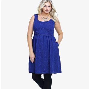 Torrid Sleeveless Embossed Blue Holiday Dress NWT
